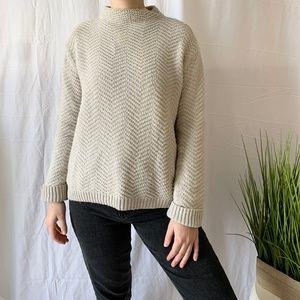 Gap Chunky Knit Mock Neck Sweater Sand Size Small